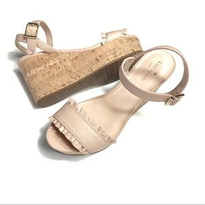 Kate Spade Tomas Nude Leather Wedge Sandals NEW